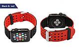 Двухсторонний ремешок с перфорацией Primo для Apple Watch 42mm / 44mm - Black&Red, фото 3