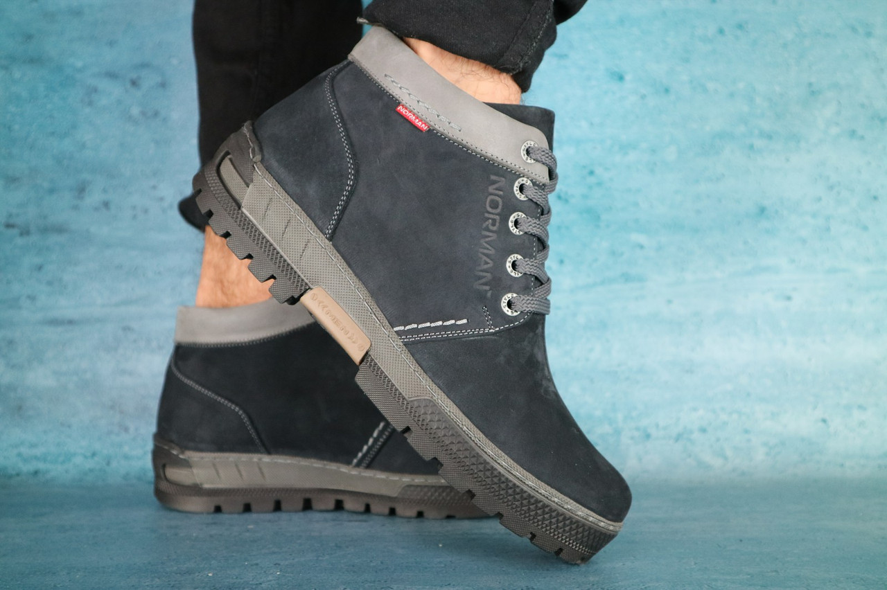 Мужские зимние ботинки синий нубук  Norman р. 44