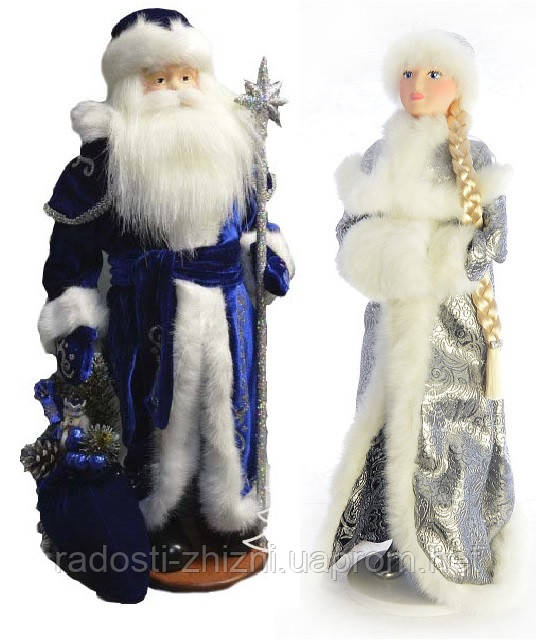 Дед Мороз и Снегурочка под елку набор 50-53 см, фото 1