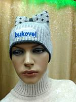 Молодежная женская шапка Berta, ТМ Kamea, Польша, полушерстяная, цвет черный, графит , фото 1