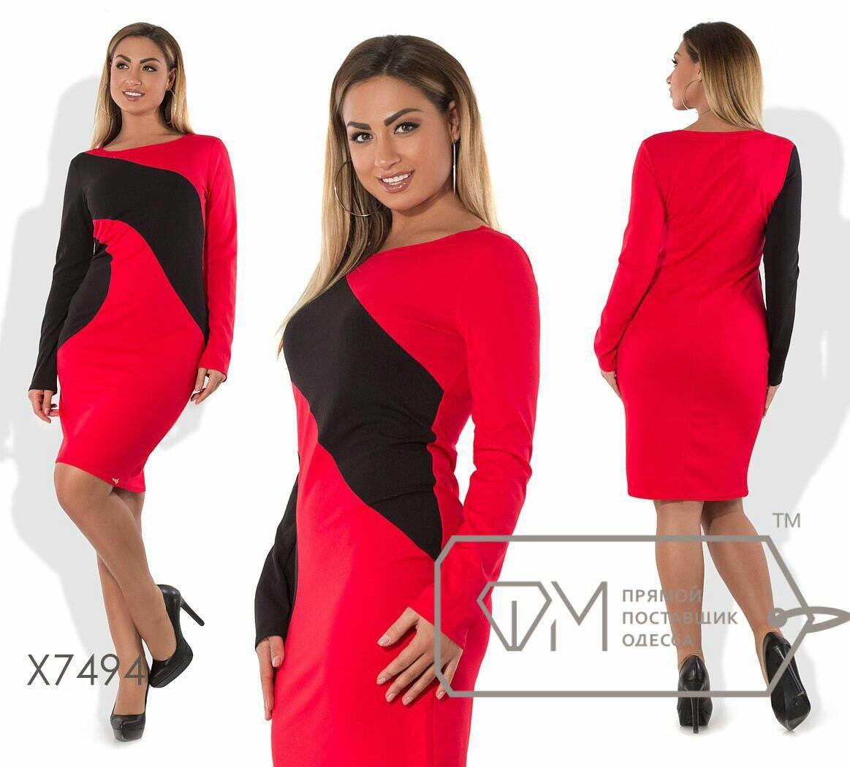 """Стильное женское платье """"ткань креп-дайвинг""""  48, 50, 52, 54 размер норма и батал"""