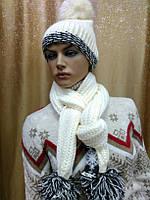 Шапка с шарфом Prodigy,  белый цвет