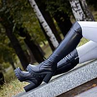 Кожаные сапоги на высоком каблуке L186179