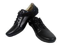 Туфли женские комфорт натуральная кожа черные на шнуровке Альбина