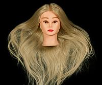 Учебная голова 30% натуральных волос,длина 55-60 см, цвет белый
