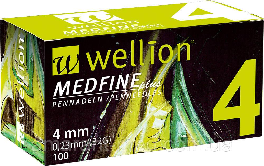 Універсальні голки Wellion MEDFINE plus для інсулінових шприц-ручок 4 мм ( 32G x 0,23 мм)
