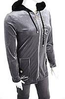 Велюровый женский спортивный костюм R3348 Серый, XL