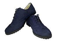 """Туфли женские комфорт натуральная кожа """"нубук"""" синие на шнуровке Юлиана (122сн)"""