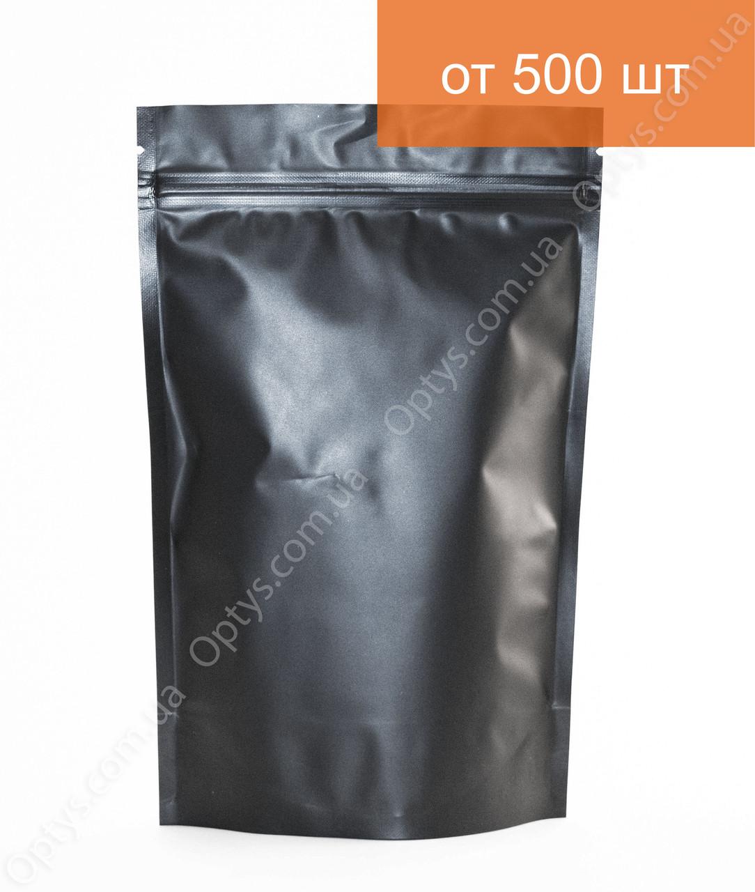 Пакет Дой Пак Черный 130х200мм с Zip-замком металлизированный