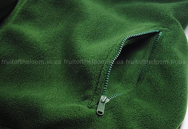 Тёмно-зелёная мужская классическая флисовая кофта на замке
