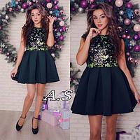 Платье модное с пышной юбкой мини пайетка на подкладке и неопрен разные цвета SMa2076, фото 1