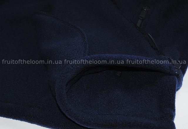 Глубоко тёмно-синяя мужская классическая флисовая кофта на замке
