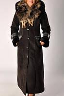 Дубленка черная длиная с мехом чернобурки., фото 1