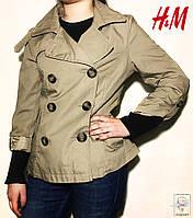Плащ H&M бежевый р. S 42-44 на манжетах двубортный женский весенний демисезонный куртка