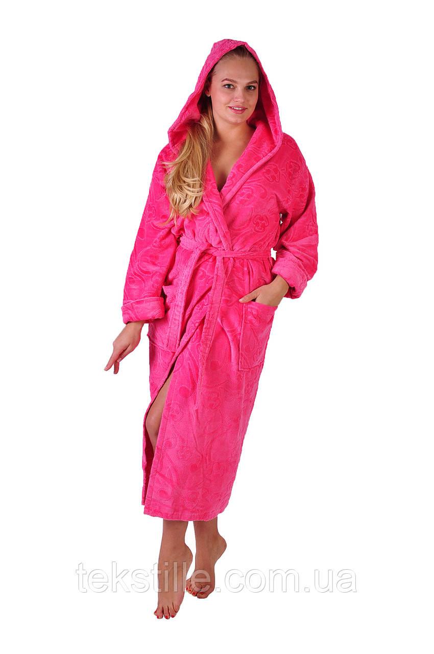 Халат махровый Sofi Soft хлопок длинный розовый