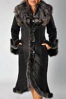Дубленка черная длиная с мехом чернобурки.
