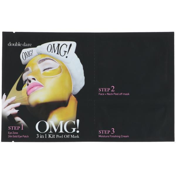 Double Dare, OMG, Золотая накладка 24k для зоны глаз, набор 3 в 1