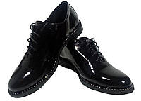 Туфли женские комфорт натуральная лаковая кожа черные на шнуровке (911)