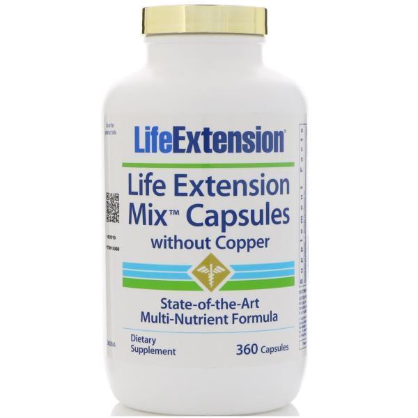 Life Extension, Смешанные капсулы без меди, 360 капсул