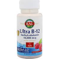 KAL, Ультра B-12 метилкобаламин ActivMelt, со вкусом клубники, 10000 мкг, 30 микротаблеток