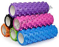 Массажный роллер (ролик, валик) 45 см Grid Roller игольчатый для точечного массажа тела