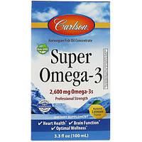 Carlson Labs, Супер Омега-3, натуральный лимонный вкус, 2600 мг, 3,3 ж. унц. (100 мл)
