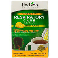 Herbion, Натуральный уход, уход за дыхательными путями, травяные гранулы, лимонный вкус, 10 пакетиков-саше, 0,19 унц. (5,4 г) каждый