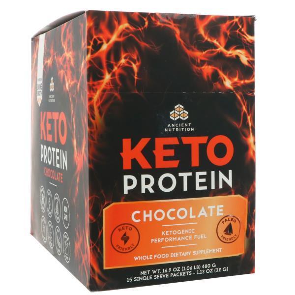 Dr. Axe / Ancient Nutrition, Keto Protein, кетогенное топливо, шоколад, 15 отдельных порционных пакетиков, 1,13 унц. (32 г) каждый