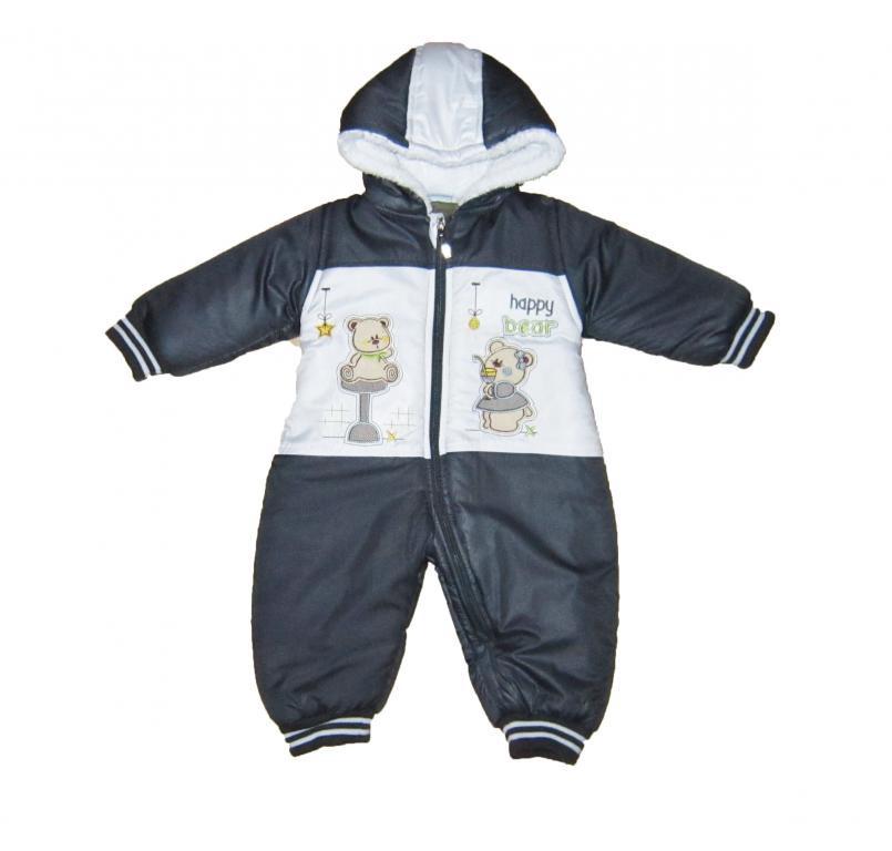 Комбинезон детский теплый сплошной мальчику на зиму. Махровая подкладка. Picomini 1435