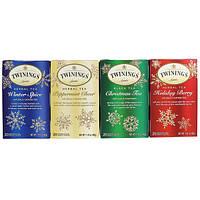 Twinings, Травяной чай, разные вкусы, Специальный выпуск, Праздник, 4 коробки, 20 чайных пакетиков в каждой