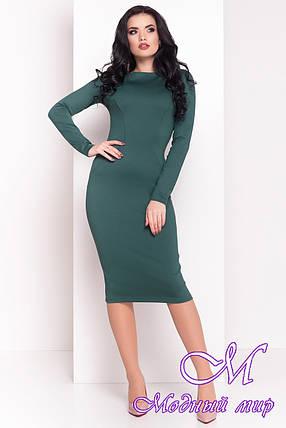 Женское зеленое платье до колена (р. S, M, L) арт. Уна - 7037, фото 2