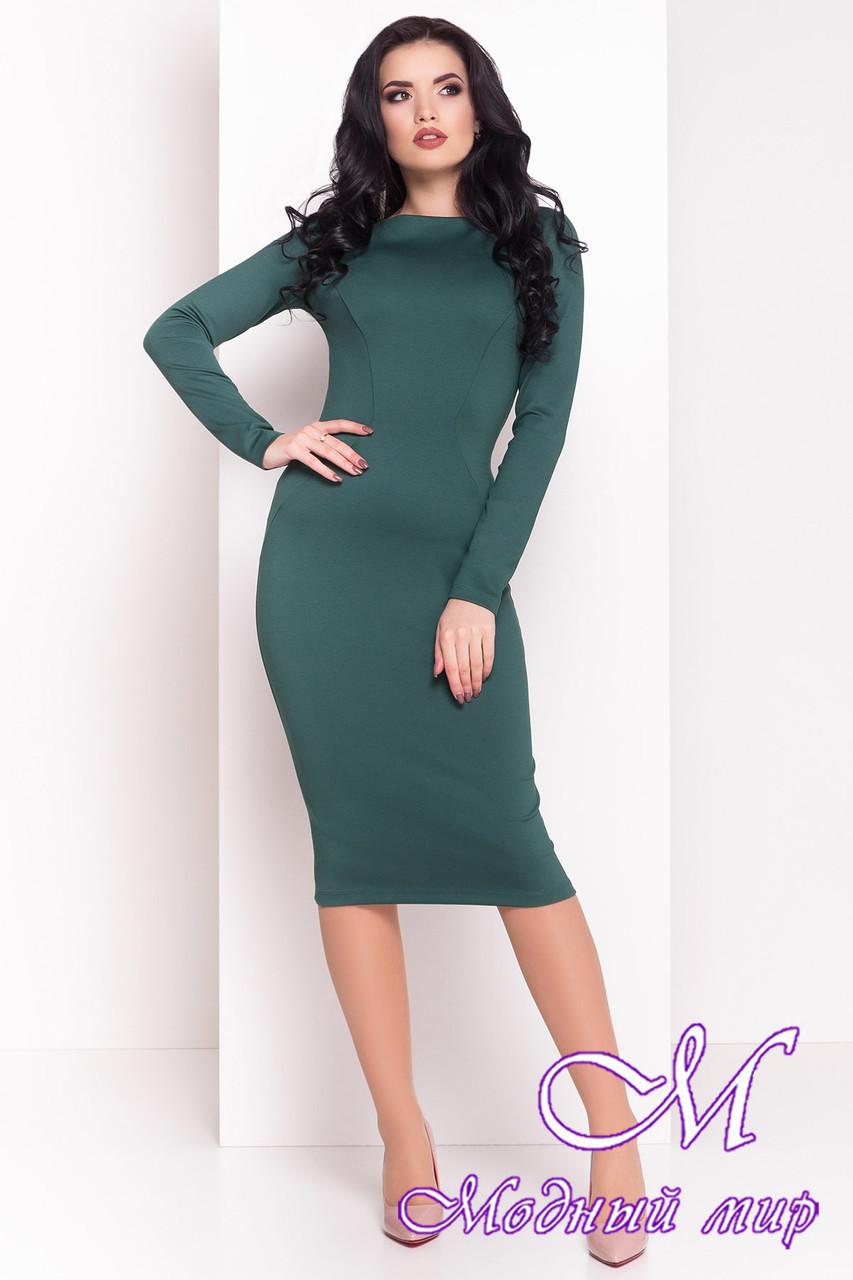 Женское зеленое платье до колена (р. S, M, L) арт. Уна - 7037