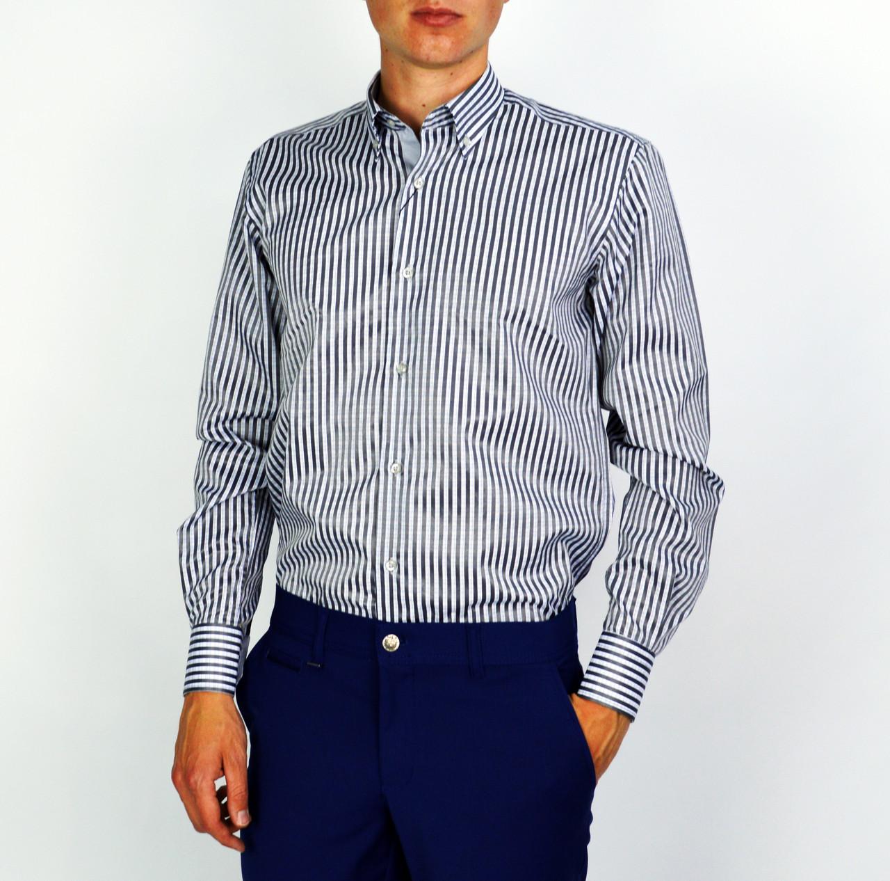 Серо-синяя полосатая мужская рубашка классическая PALMEN