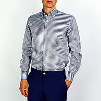 Серо-синяя полосатая мужская рубашка классическая PALMEN, фото 1