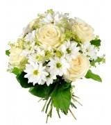 """Букет из белых роз и хризантем """"Незабудка"""""""