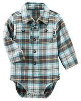 Детская клетчатая боди-рубашка ОшКош для мальчика