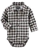 Детская фланелевая боди-рубашка в клетку с длинным рукавом OshKosh B'gosh для мальчика