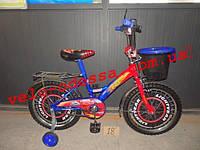 Детский двухколесный велосипед Тачки с корзинкой 12 дюймов