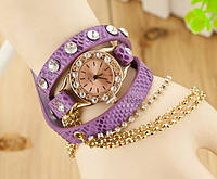 Дизайнерские женские часы-браслет с цепочкой Цвет Сиреневый