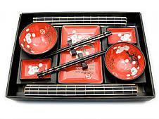 """Сервиз для суши """"Красный с цветами сакуры"""" (2 персоны)"""
