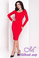 Женское красное платье с декольте (р. S, M, L) арт. Альтера - 6999