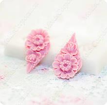 Силиконовый молд на цветочки, основа для серег, для полимерной глины, мастики.