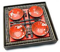 """Сервиз для суши """"Красный с цветами сакуры"""" (4 персоны)"""