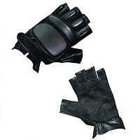 Тактические перчатки без пальцев кожаные
