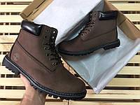Ботинки Timberland - brown, материал - нубук, утеплитель - натуральный мех, подошва - прошита