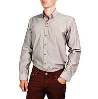 Кофейная мужская рубашка классическая PALMEN в мелкую полосочку