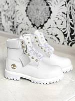 Зимние женские  ботинки Timberland White Leather & Fur