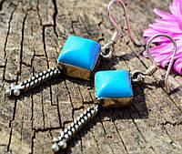 Шикарные стильные серьги! Серебро! Голубой камень! Germany!      xx 77237
