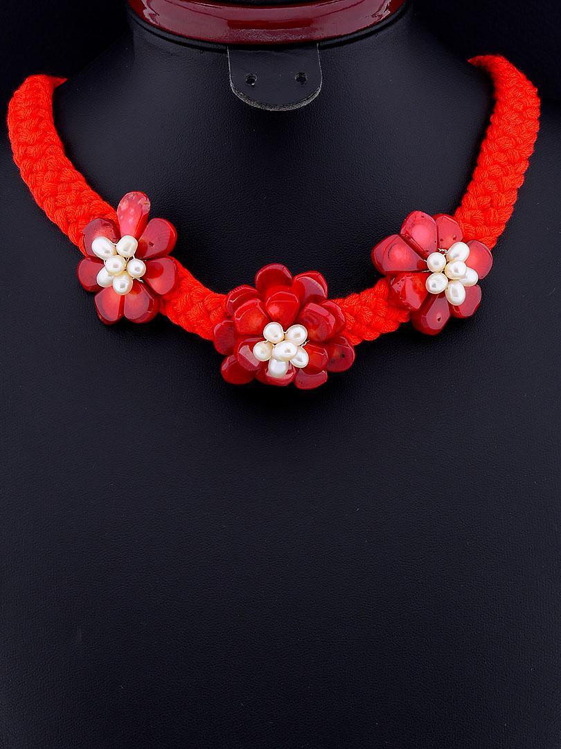 Ожерелье из коралла и жемчуга