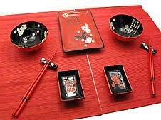 """Сервиз для суши """"Иероглифы с цветами сакуры"""" (2 персоны)"""